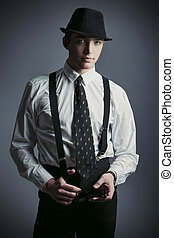 retrato, suit., bonito, homem jovem