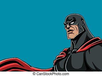 retrato, superhero, pretas