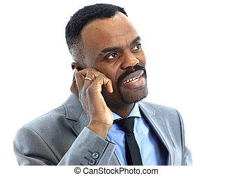 retrato, teléfono, hombre de negocios, hablar