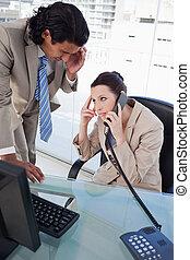 retrato, telefone, equipe, negócio, cansadas