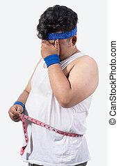 retrato, tensão, jovem, homem gordo