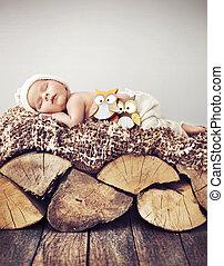retrato, toddler, dormir