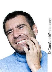retrato, toothache, homem