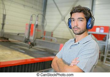 retrato, trabajador industrial