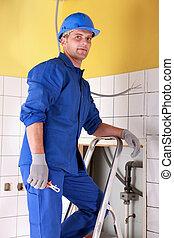 retrato, trabalhador