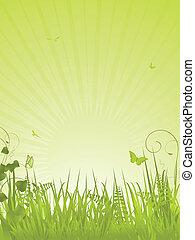 retrato, tranquilo, fondo verde