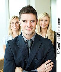 retrato, tres, joven, empresarios