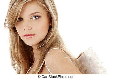 retrato, triste, anjo, olhos azuis