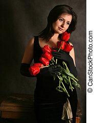 retrato, tulipanes