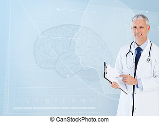 retrato, usando, sênior, área de transferência, doutor