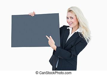retrato, vazio, bandeira, mulher negócio, apontar