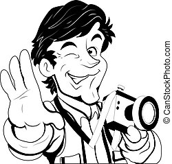 retrato, vector, fotógrafo