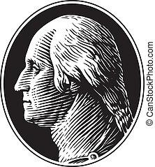 retrato, vector, washington george