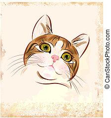 retrato, vendimia, atigrado, gato jengibre