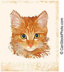 retrato, vendimia, gato jengibre