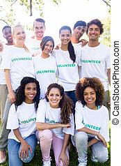 retrato, voluntários, feliz