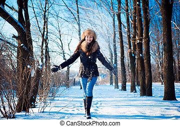 retrato, weather., gelado, inverno, menina