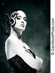 retrato, woman., abstratos, femininas, mecânico