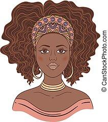 retrato, woman., africano