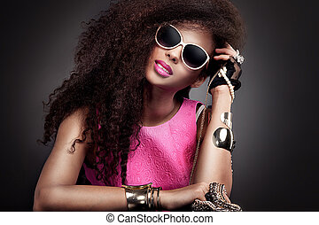 retrato, woman., moda, jovem, beleza