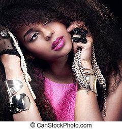 retrato, woman., moda, joven, belleza