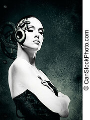 retrato, woman., resumen, hembra, mecánico