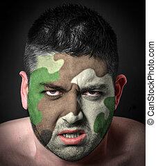 retrato, zangado, soldado