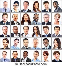 retratos, cobrança, pessoas negócio