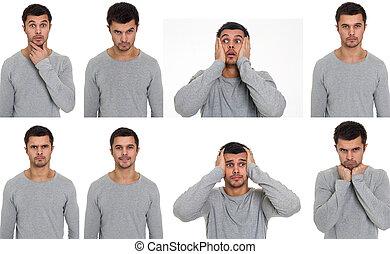 retratos, com, diferente, emoções