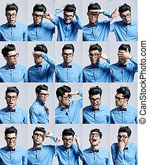 retratos, diferente, homem, jovem, expressões