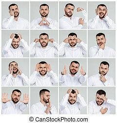 retratos, emoções, homem, colagem, diferente