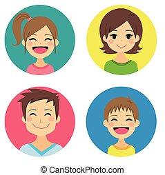retratos, família, feliz