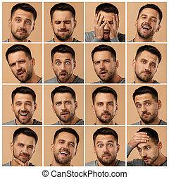 retratos, homem, diferente, colagem, emoções