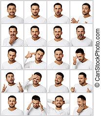 retratos, homem, emoções, colagem, diferente