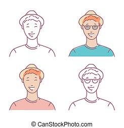 retratos, homens, jogo, jovem