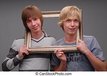retratos, irmãos, dois