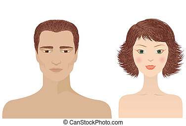 retratos, mulher, desenho, isolado, homem