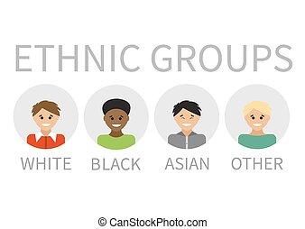 retratos, multi-étnico, pessoas