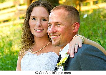 retratos, par, noivo, casório, noiva