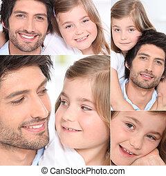 retratos, pequeno, menina jovem, homem