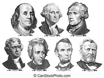 retratos, presidentes, políticos, dólares