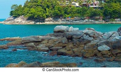 Retreating Zoom Shot of Tropical Beach Resort in Thailand -...