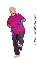 Retried senior woman exercising - Retried overweight senior...