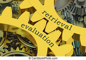 retrieval evaluation concept on the gearwheels, 3D rendering