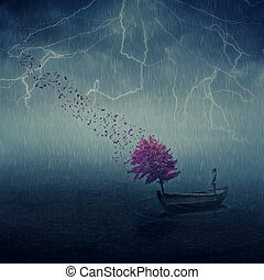 retrieval - Surrealistic image as lonely boy floating in a...
