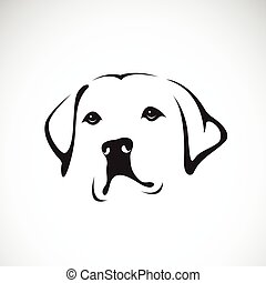 retriever), animals., vektor, hintergrund, weißes, head(labrador, hund, pet.