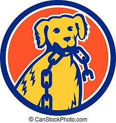 Retriever Dog Biting Broken Chain Mascot