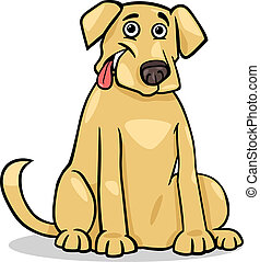 retriever labrador, dessin animé, illustration, chien