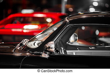 retro風格, 老, 黑色, 運動, 汽車