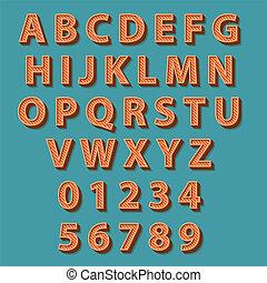 retro작풍, alphabet., 벡터, illustration.